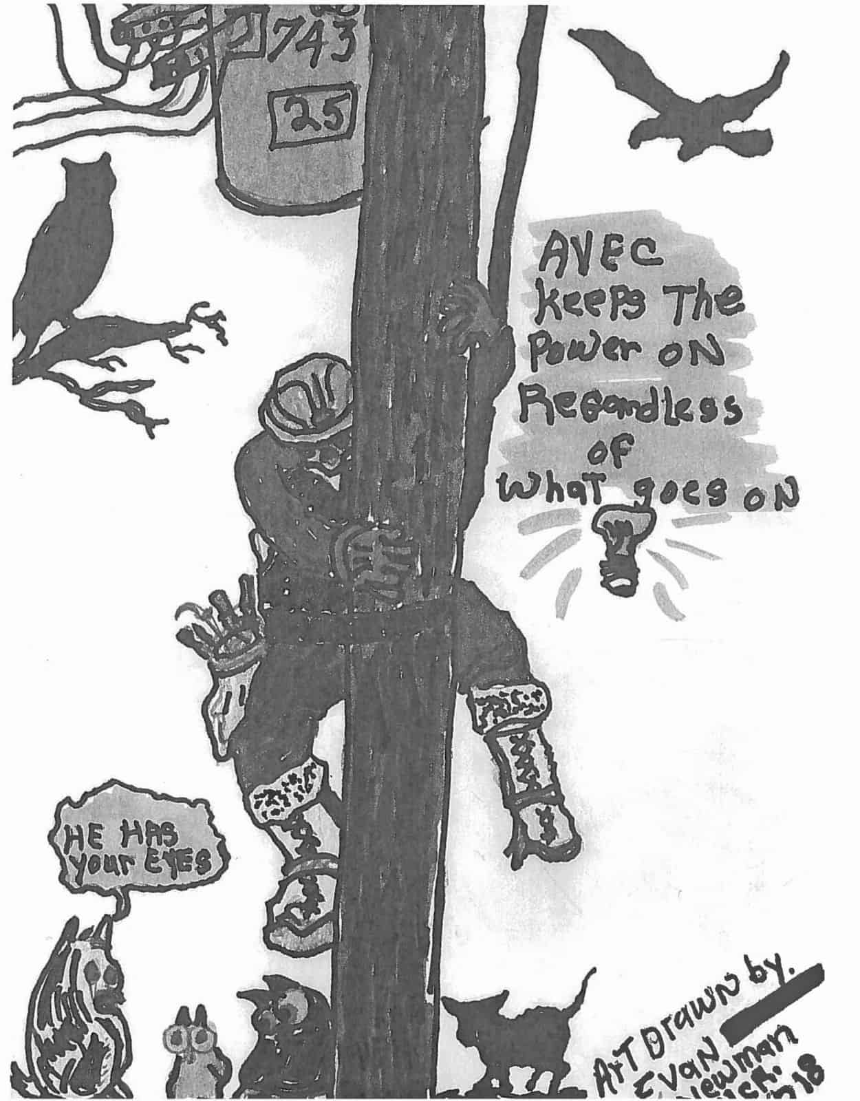 Worker climbs utility pole while various wildlife looks on. Text: AVEC keeps the power on regardless of what goes on.