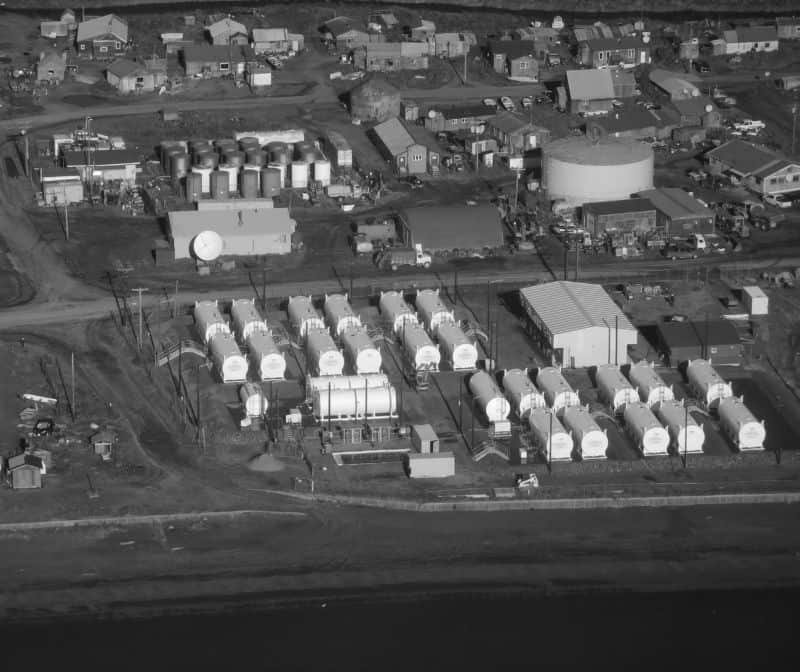 An aerial view of Togiak's new power plant and tank farm.