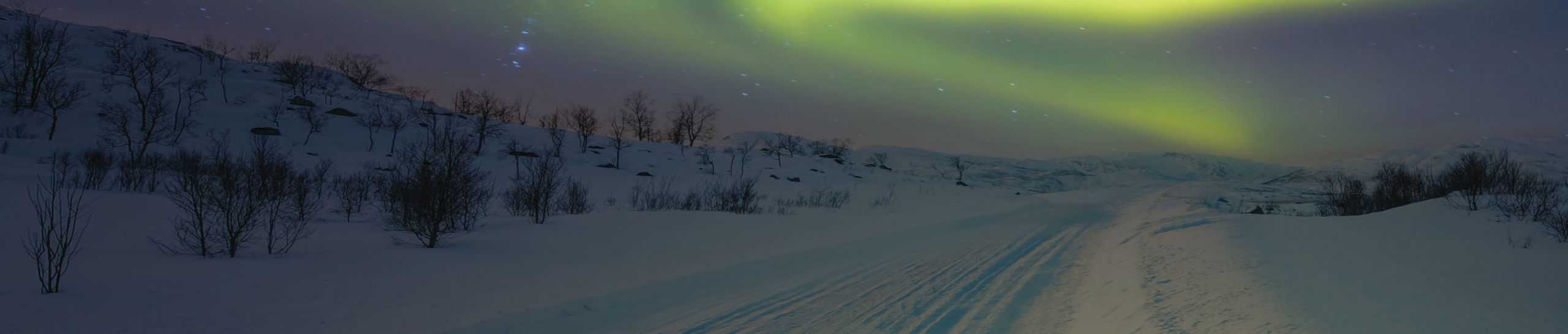 snowy road with northern lights in the sky